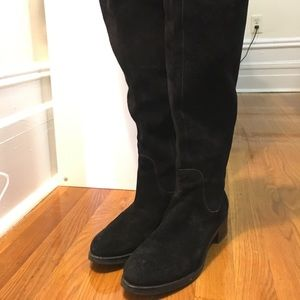 Barney's New York black suede over the knee boot